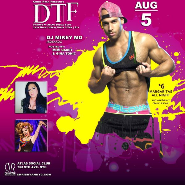 DTF, Atlas Social Club, Chris Ryan, Gay Dance Party, NYC Gay Nightlife