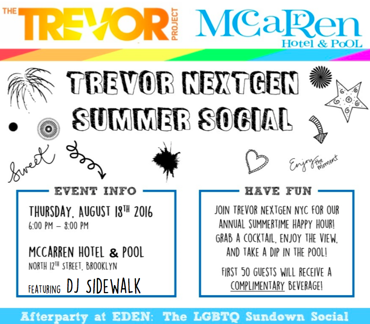 trevor project, next gen, summer social, nextgen, nyc gay events, lgbtq